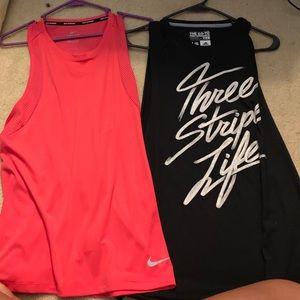 Adidas and Nike women's tanks large